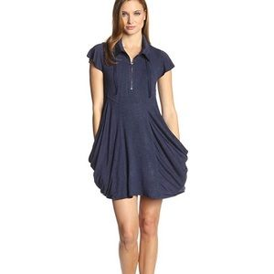 Kensie Drapey French-Terry Dress Navy size small